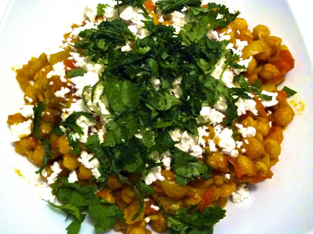 Curried Chickpeas with Feta Cheese
