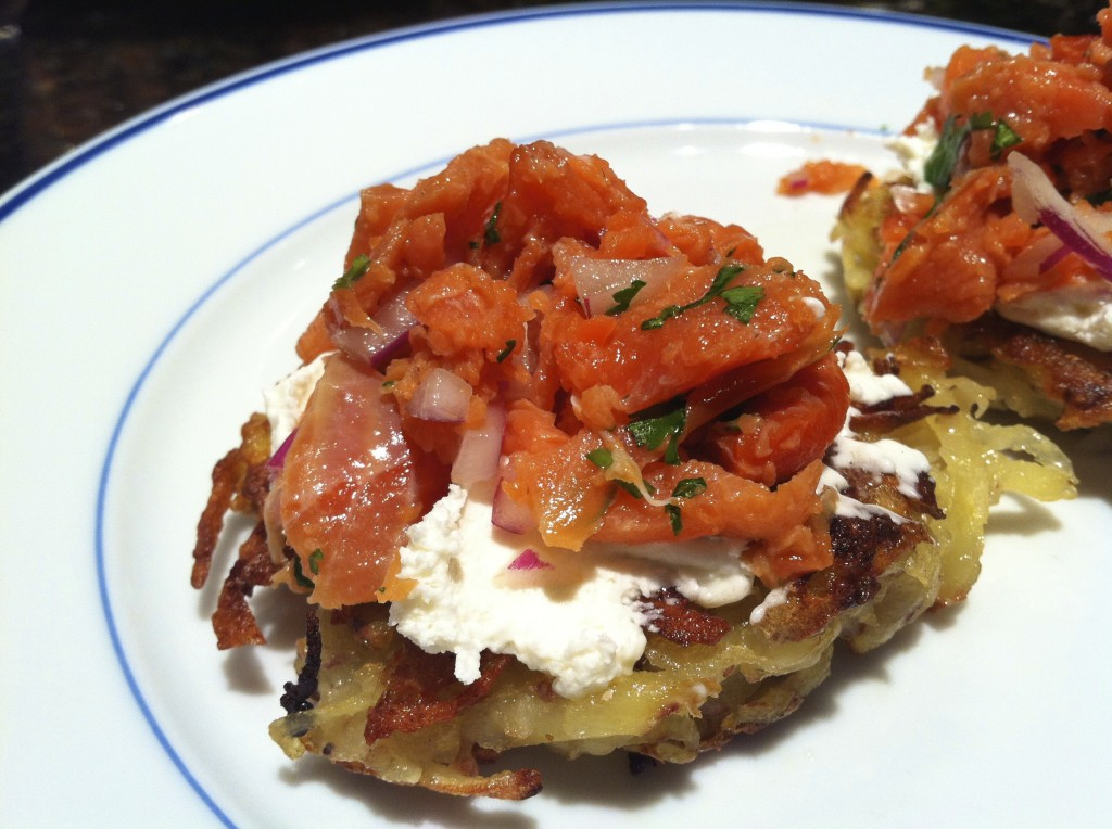 Smoked Salmon with Potato Latkes