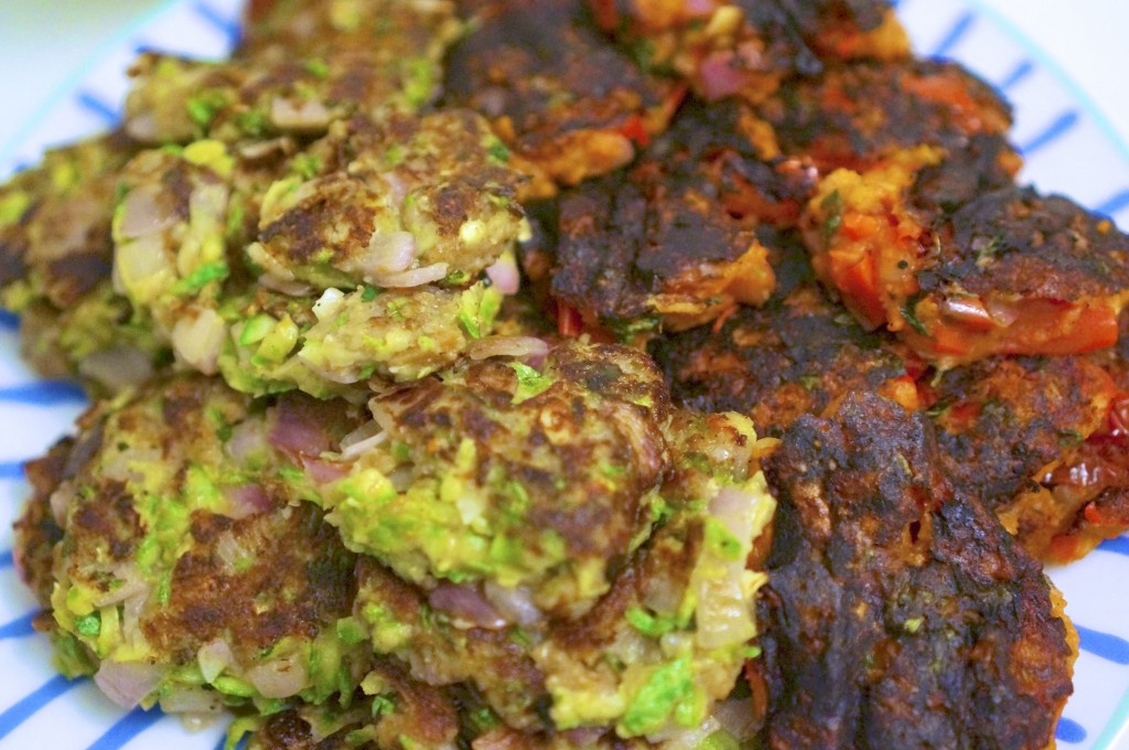 Zucchini Mint Fritters (and Tomato Basil Fritters)