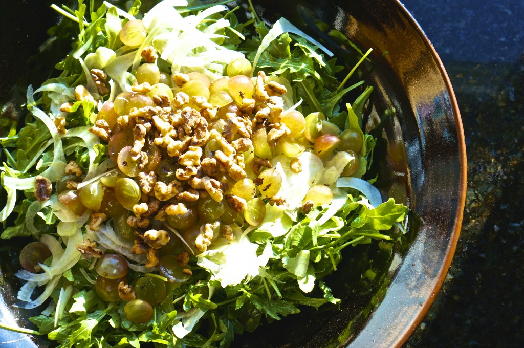 Fennel & Arugula Salad with Grapes and Toasted Walnuts