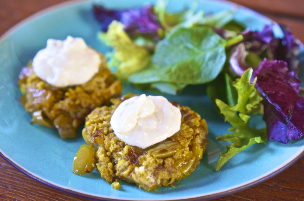 Curry Millet Cakes with Feta Yogurt Sauce