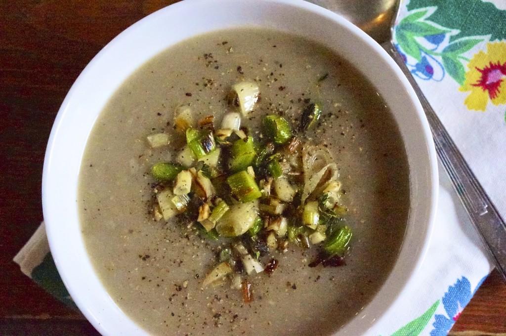 Spring Parsnip Soup with Crispy Leeks