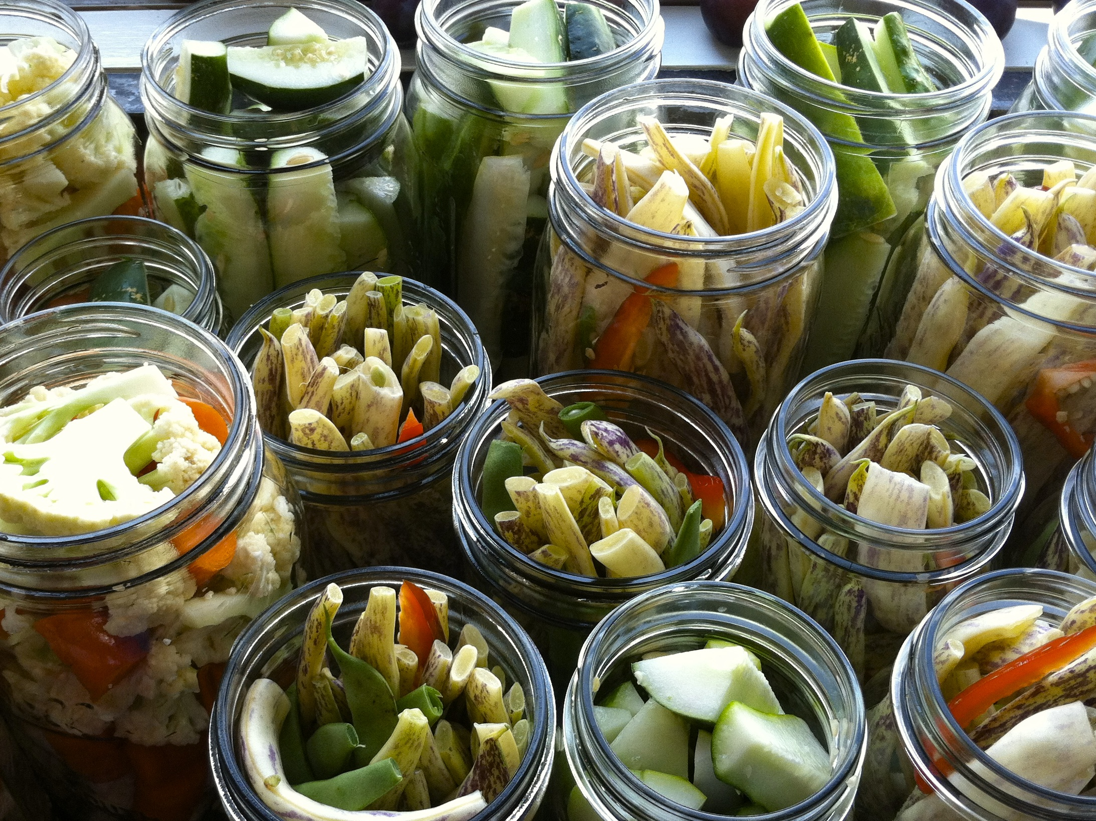 dilly beans, dill pickles, cauliflower pickles
