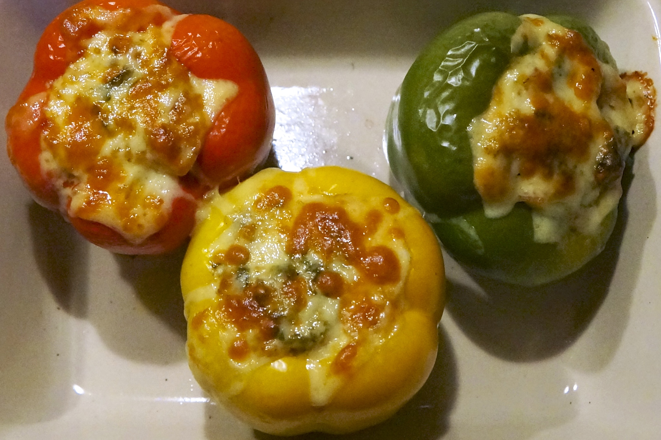 stuffed peppers with melted cheese