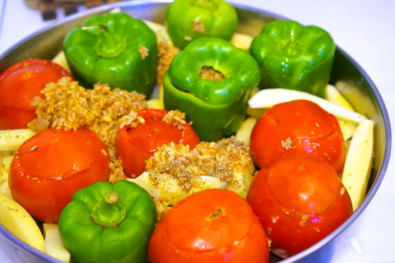 Greek cooking class, stuffed tomatoes, stuffed peppers