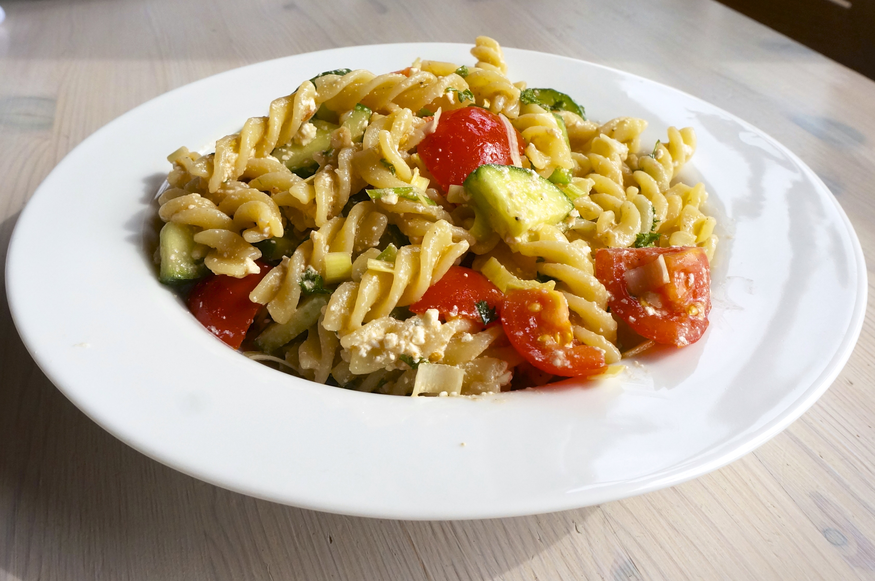 greek pasta salad, quinoa pasta