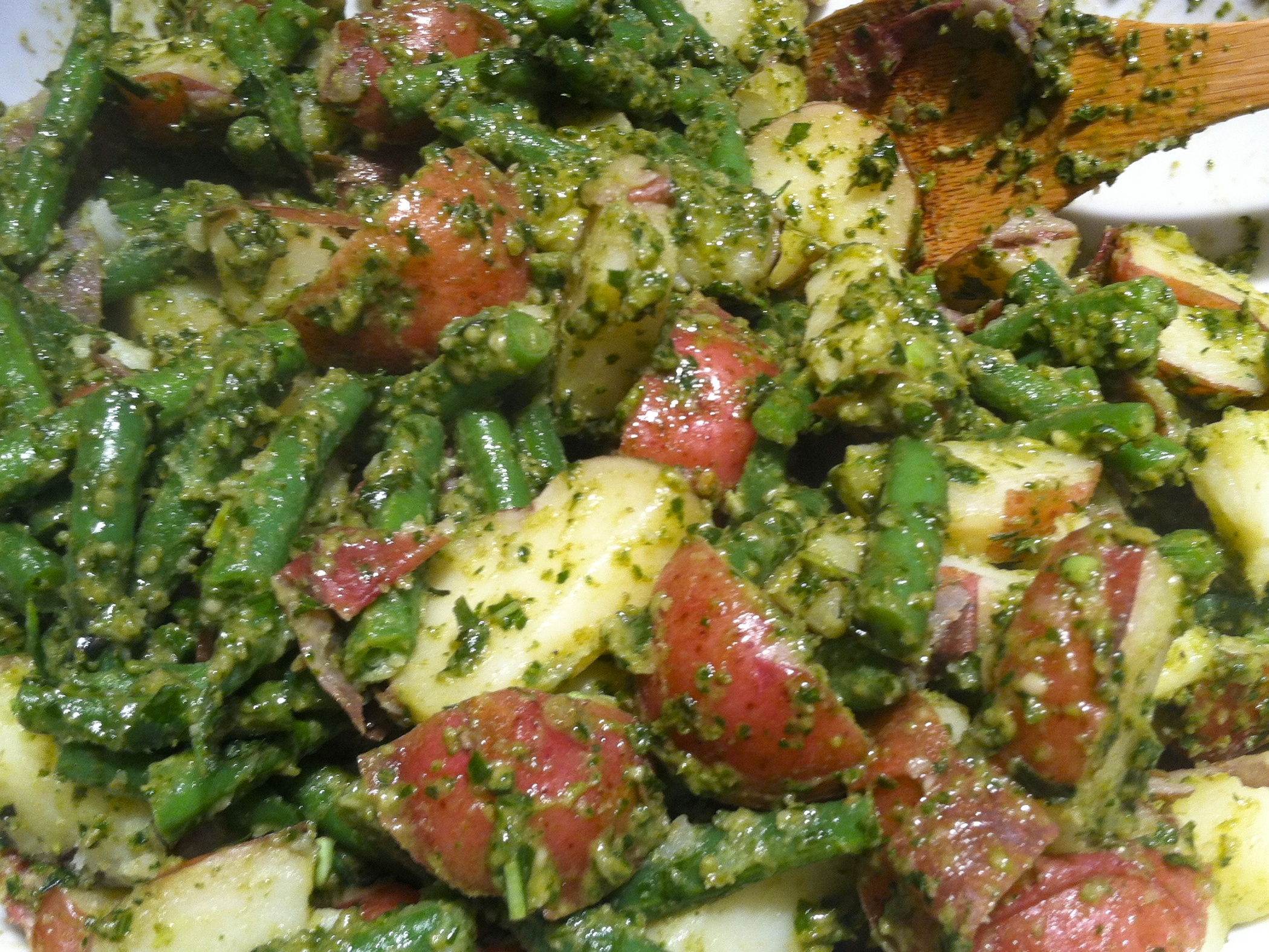 three herb pesto with new potatoes and green beans