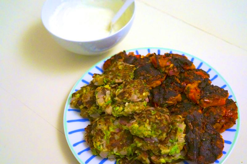Zucchini fritters and tomato fritters with yogurt sauce