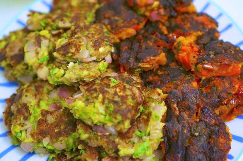 Zucchini and tomato fritters