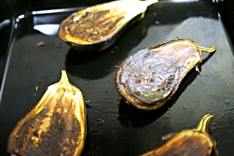 Roasted Eggplant with Feta and Caramelized Onions