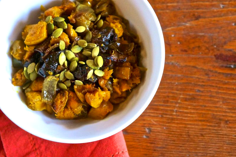 Sweet & Spicy Roasted Butternut Squash with Prunes
